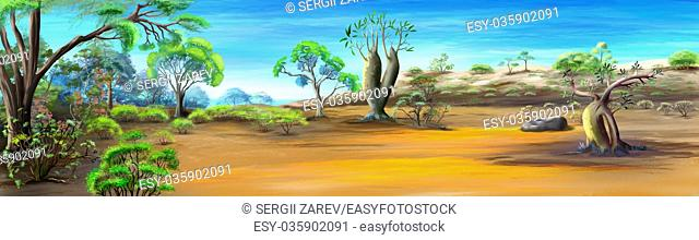 Panorama of African Savannah in a Hot Summer Day. Digital Painting Background, Illustration in cartoon style character