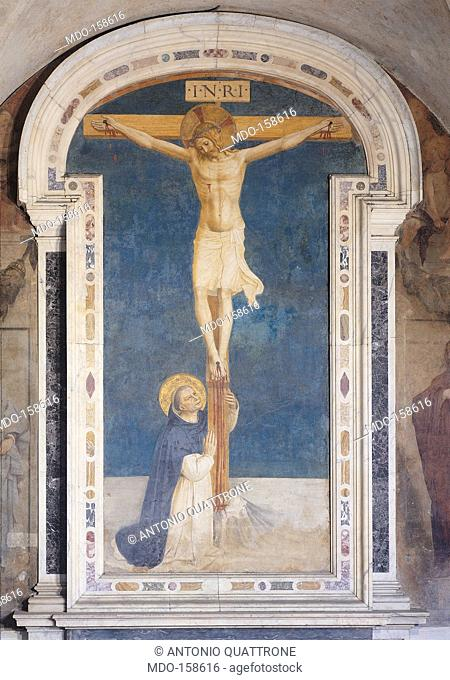 St Dominic at the feet of Jesus Crucified, by Guido di Pietro (Piero) known as Beato Angelico, 1438 - 1446 about, 15th Century, curved fresco with marble frame