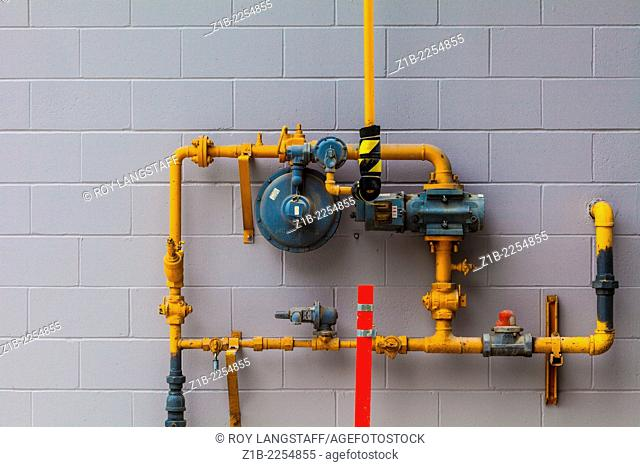 Abstract image of an industrial gas supply installation