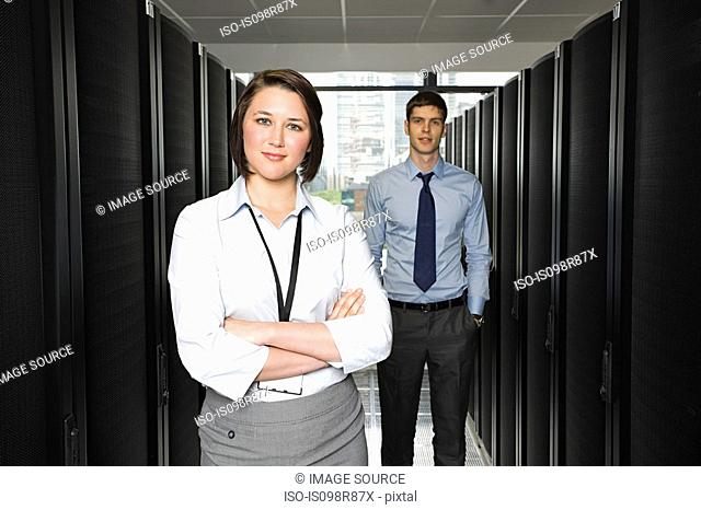 Two young computer technicians