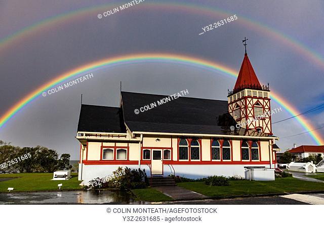 Rainbows over Maori owned Church of St Faith, Ohinemutu, Rotorua