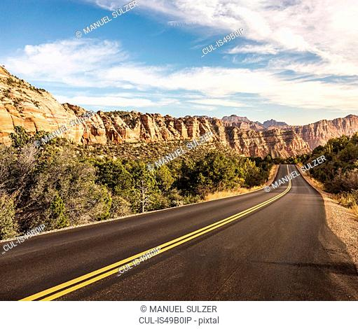 Empty road, Zion National Park, Springdale, Utah, USA