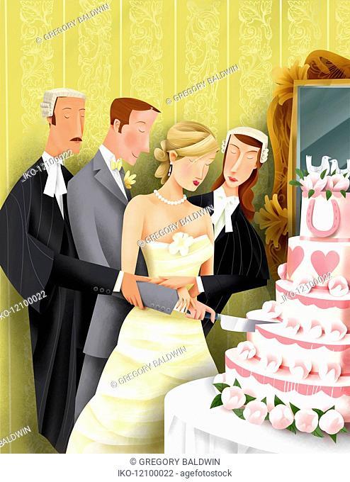 Attorneys helping bride and groom cut into wedding cake