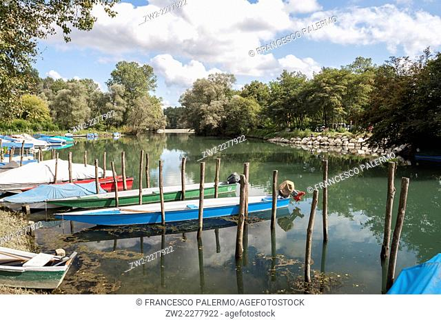 A country river harbor in a summer afternoon. Vigevano, Pavia. Italy