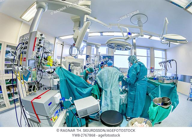 Surgeons-Heart valve replacement surgery, operating room, Reykjavik, Iceland