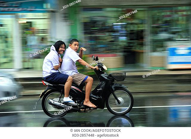 motor scooter on a rainy afternoon in Phang-nga, Thailand