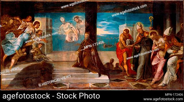 Doge Alvise Mocenigo (1507-1577) Presented to the Redeemer. Artist: Jacopo Tintoretto (Jacopo Robusti) (Italian, Venice 1519-1594 Venice); Date: probably 1577;...