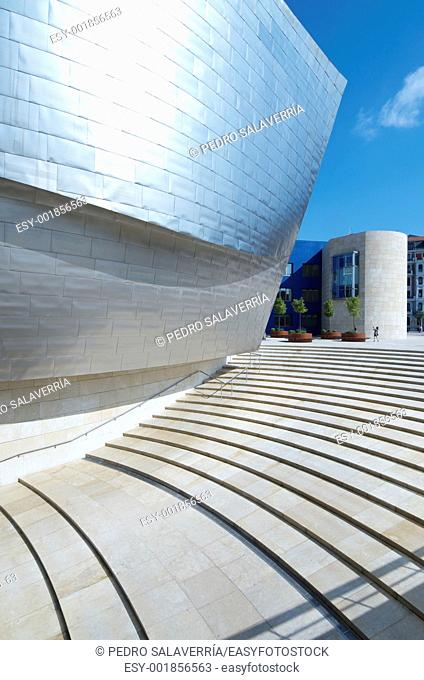 Bilbao, Biscay, Basque Country, Spain, July 30, 2011: view of the main entrance of the Guggenheim Museum  Guggenheim Museum is dedicated exhibition of modern...