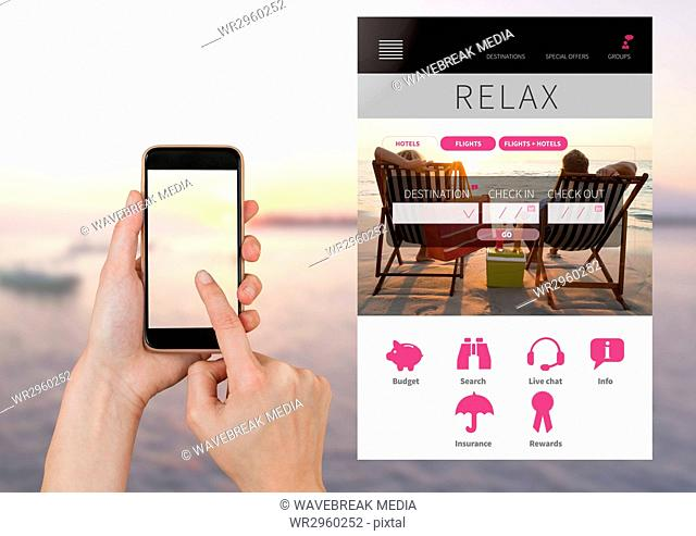 Hand Touching phone and relaxing holiday break App Interface with sea