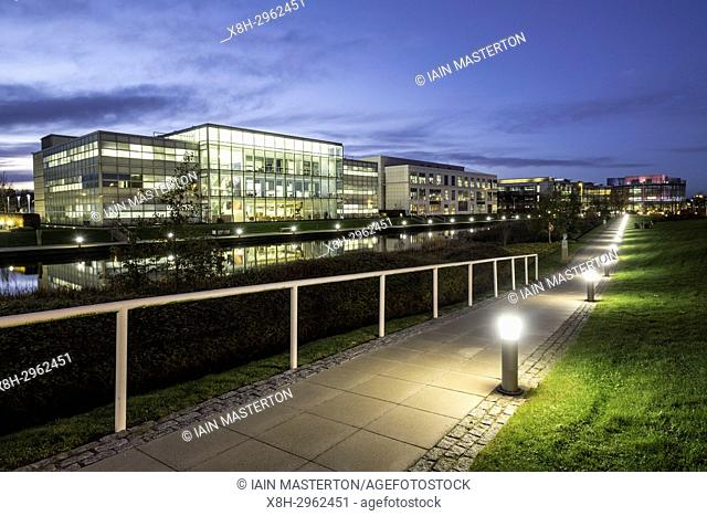 Night view of modern business district in Edinburgh Park development in Edinburgh, Scotland, United Kingdom