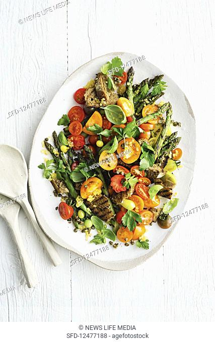 Grilled asparagus and tomato salad with preserved lemon