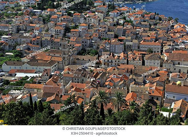 overview of Hvar city from the fortress, Hvar island, Croatia, Southeast Europe
