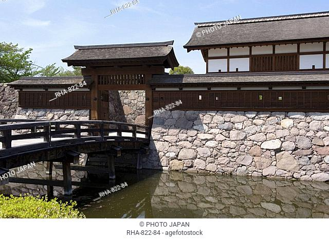 Main gate with bridge over moat at Matsushiro Castle in Nagano Prefecture, Japan