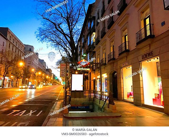 Metro Serrano entrance at dawn. Goya street, Madrid, Spain