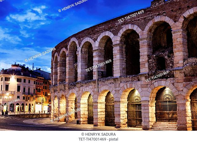 The Verona Arena on Piazza Bra in Verona Verona, Veneto, Italy