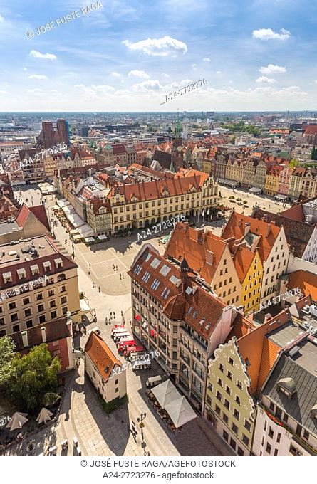 Market Square from St. Elizabeth's Church Belfry, Wroclaw, Poland