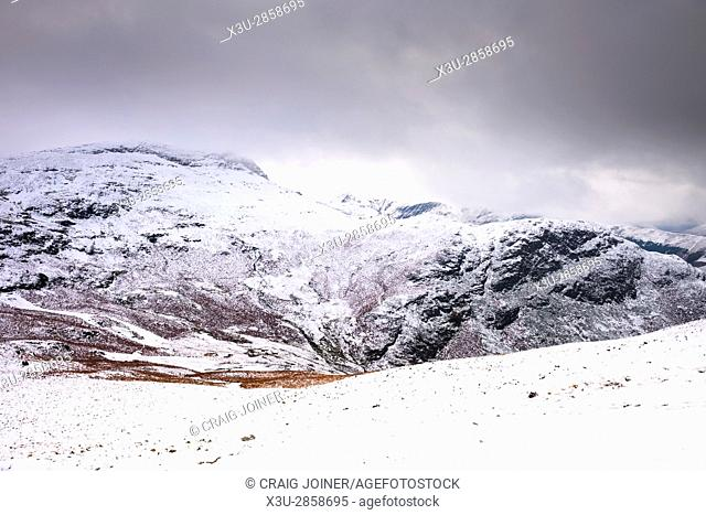 Maiden Moor from Cat Bells after late autumn snow fall. Lake District National Park, Cumbria, England