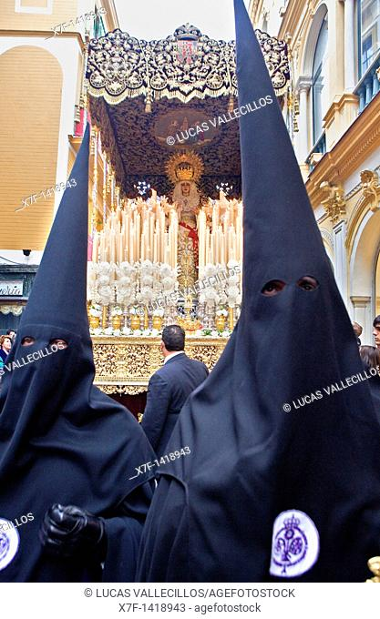 Penitents Holy Week procession `La Sed' Holy Wednesday  Seville  Spain