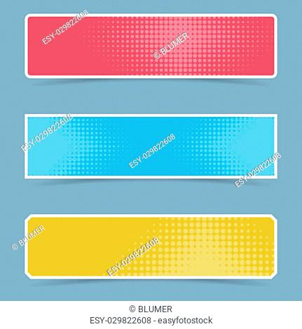Colorful vector banners with halftone effect and shadows
