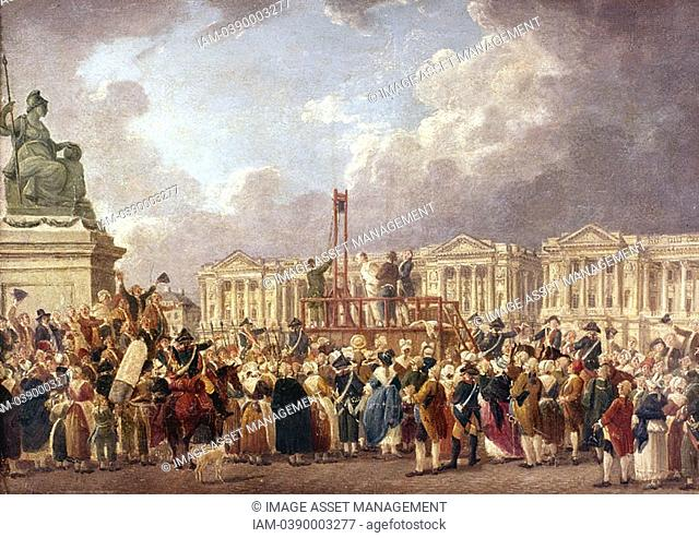 Pierre Antoine De Machy c1722-1807 French painter: An Execution by Guillotine in Paris during the French Revolution  Carnavalet, Paris