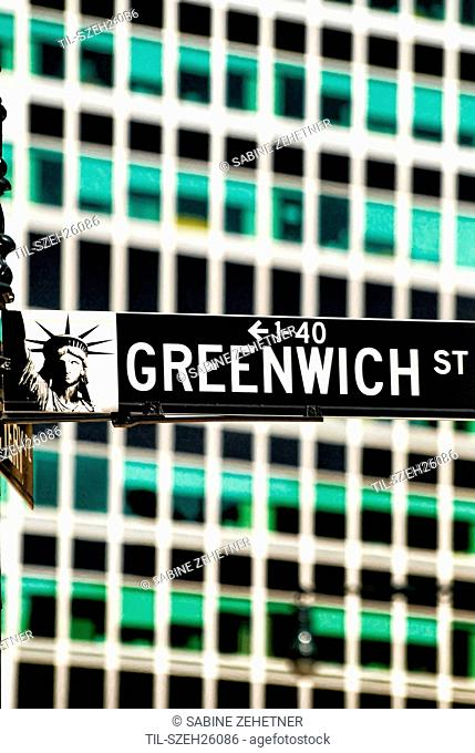 Close up of Greenwich Street sign in Lower Manhattan, New York City, against the background of office buildings