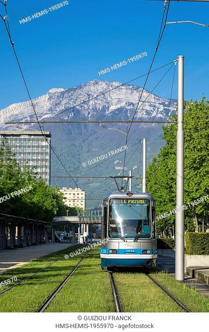 France, Isere, Grenoble, the tramway and the Vercors massif in the background