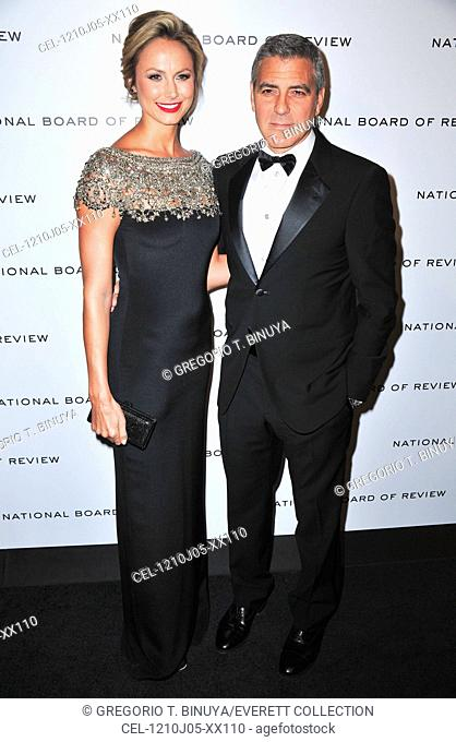 Stacy Keibler (wearing a Marchesa gown), George Clooney at arrivals for 2012 National Board of Review Awards Gala, Cipriani Restaurant 42nd Street, New York