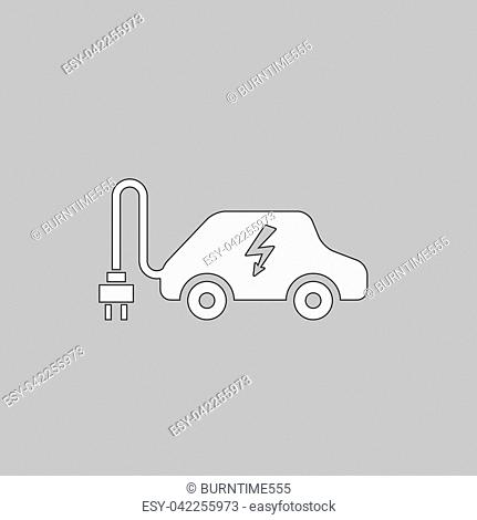 Electric car Simple line vector button. Thin line illustration icon. White outline symbol on grey background