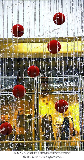 Curtain with Christmas decorations, Barcelona, Catalunya, Spain