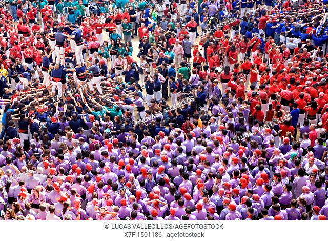 Xiquets del Serrallo 'Castellers' building human tower, a Catalan tradition Biannual contest  bullring Tarragona, Spain