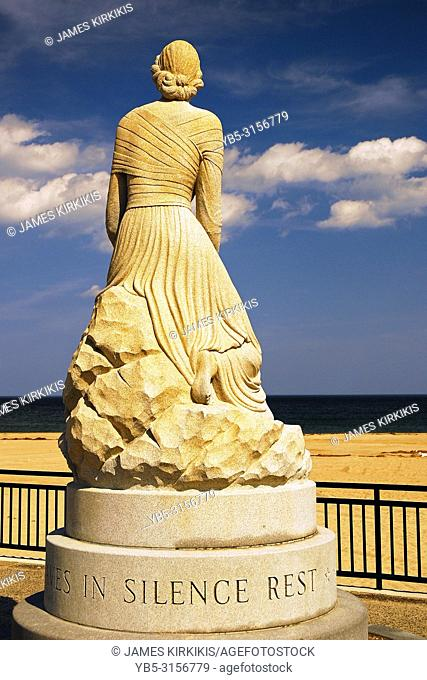 A memorial along the shore of Hampton Beach, New Hampshire honors the fishermen who were lost at sea
