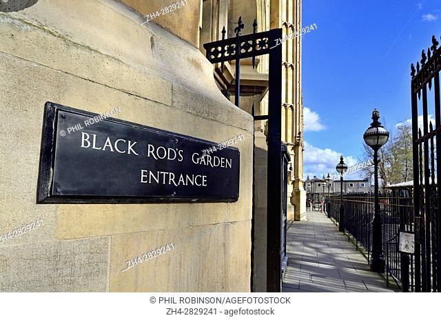 London, England, UK. Black Rod's Garden Entrance to the Palace of Wentminster