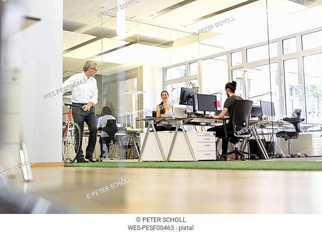 Businessman with bicycle talking to colleague in modern office