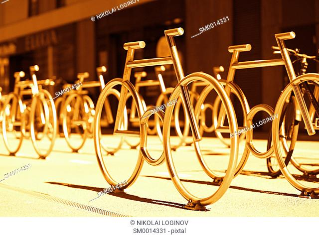 Oslo bicycle parking yard monument background hd