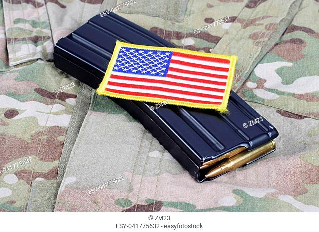 M-16 magazine with ammunition on US Army uniform