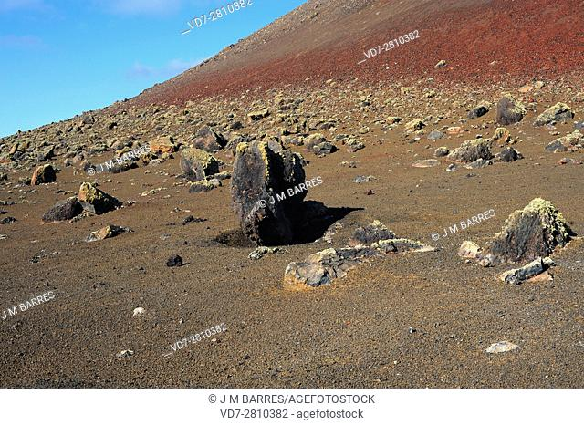 Volcanic bombs and lapilli in Timanfaya, Lanzarote Island, Canary Islands, Spain