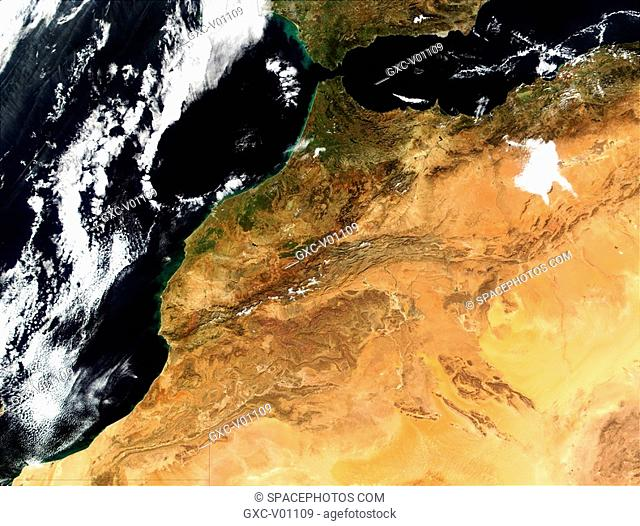 On January 25, 2002, the Nasa satellite acquired this image of northwestern Africa, including the countries of Morocco center, Algeria right