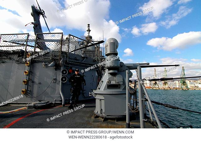 The US Navyshows weapons at the flagship USS Vicksburg (CG 69) in the Bulgarian Black sea port of Varna, some 450 kms (280 miles) north-east of the capital...
