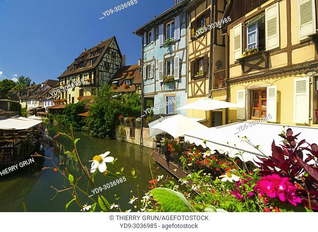 France, Haut-Rhin (68), Colmar town, Little Venice, viewed from bridge Turenne street