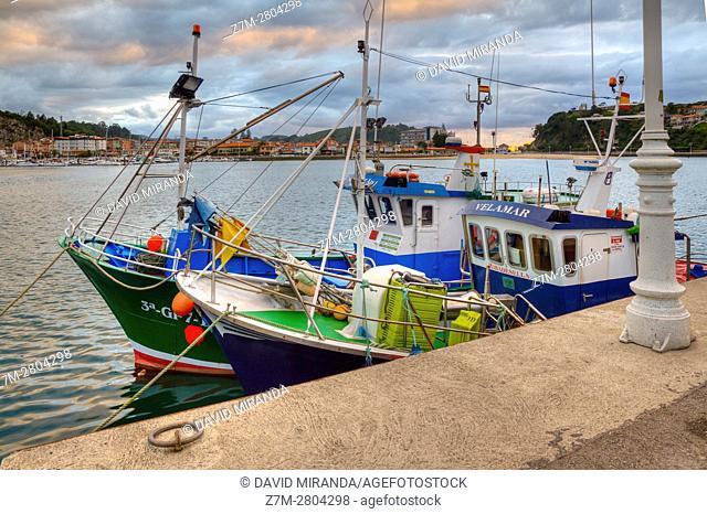 Fishing boats, Ribadesella village, Asturias, Spain. Historical Heritage Site
