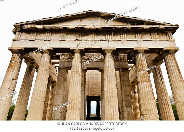 Doric Columns in Temple of Hefesto, Greek Agora Athens, Greece