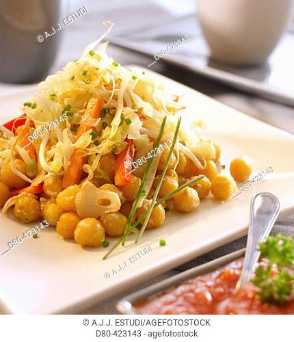 Chickpeas and vegetables stir fry