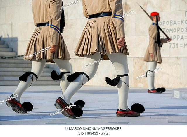 Evzone soldiers performing change of guard, Athens, Greece
