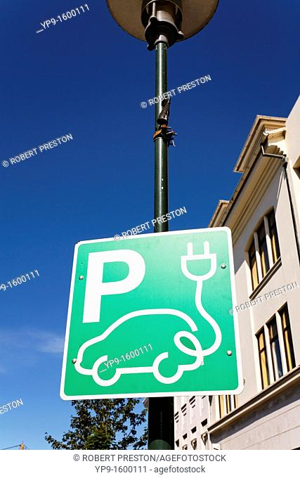 Sign for a charginf point for an electric vehicle, Rejkjavik, Iceland