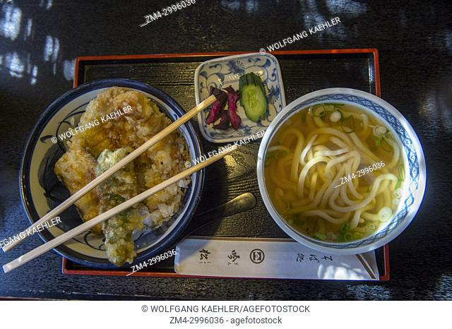 Japanese lunch with noodle soup and tempura in Kyoto, Japan