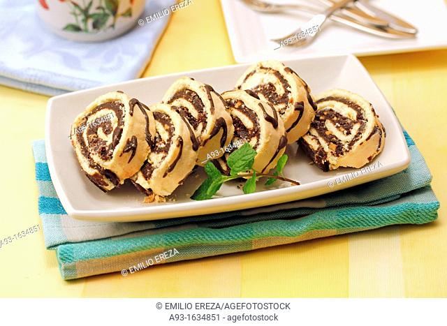 Chocolate roll with almonds
