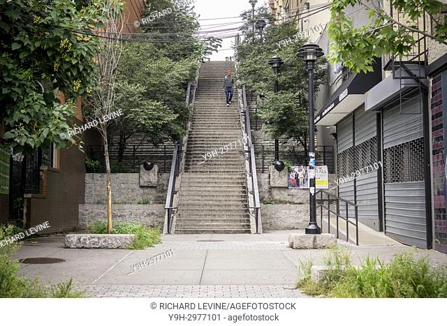 A step street in the Bronx borough of New York on Sunday, September 3, 2017. Due to the hilly nature of Upper Manhattan and Western Bronx their are a number of...