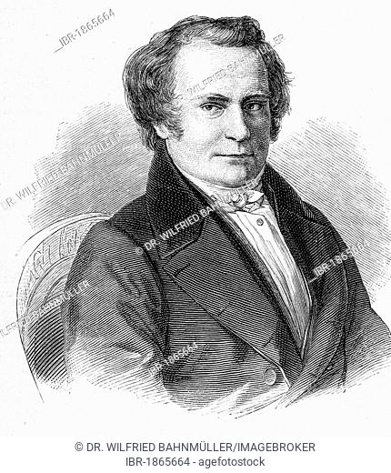 Carl Leberecht Immermann (1796-1840), writer, stele engraving by F.X. Stoeber, before 1880