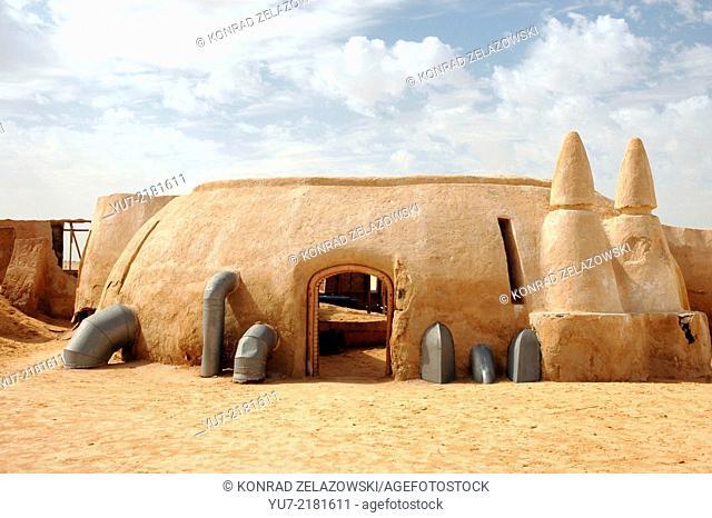 Remains of George Lucas Star Wars movie set on Sahara desert in Tunisia
