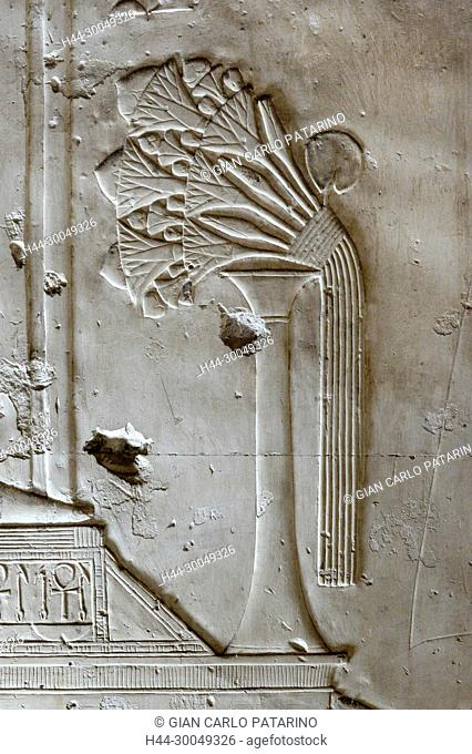Abydos,Egypt, the mortuary temple of pharaoh Seti I, Menmaatra, (XIX° dyn. 1321-1186 B.C.) - A bouquet